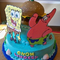 Spongebob And Patrick Vanilla cake with strawberry mousse filling and vanilla buttercream icing. SpongeBob and Patrick are color flow, lettuce and cheese were...