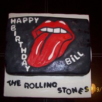 "Rolling Stones Cake  ""Birthday cake for a fan of the Rolling Stones, my boyfriend..lol. Covered in fondant, yellow cake baked from scratch. Filling Italian..."