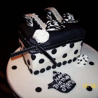 "Chic Black & White Cake ""A covered fondant cake, with gumpaste shoes. Didn't like that rose with the black stripes, I dont know where my mind was!!!:LOL..."