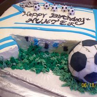 Soccer Theme Birthday Cake   Soccer themed birthday cake for my nephew turning 5yrs old. I had alot of fun making this cake and learning as I went along...lol""