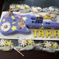 "Hanna Montana Guitar ""Birthday Cake for 9yr old. Loves Hanna Montana, so decided to make it in the shape of an electric guitar. Chocolate moist cake,..."