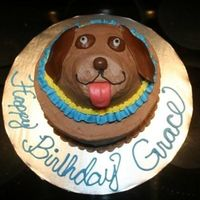 Labrador Retreiver Birthday Cake Labrador Retriver cake for child's birthday. Ear, eyes and tongue made from tootsie rolls, nose is a malted milk ball, snout is...