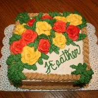 "Fall Roses A huge boquet of roses in fall colors for a November birthday. Made from 2 layers of 8"" square allowed lots of space for LOTS of icing..."