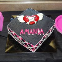 Girly Skull With Flying Heart I made a 3 layer red velvet cake with vanilla buttercream and only the flying heart and skulls and black diamonds are fondant. All hand cut...