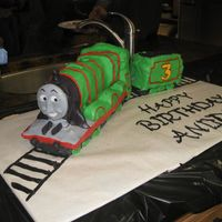 "Henry The Train From ""thomas And Friends"" I made this cake for my son who was turning 3 and his favorite train was Henry, who ironically is the #3 Engine! It's all stacked and..."