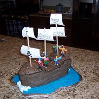 Pirate Ship  Made for my son's birthday. Lots of learning from this one. Needed lots of support (the back and front started to collapse). Oh well,...
