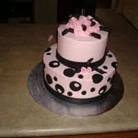 Black And Pink Two Tiered Birthday Cake BC icing with black fondant accents. Topper is rolled fondant roses. Inspired by many cakes seen on this awesome site. Thanks to all of you...