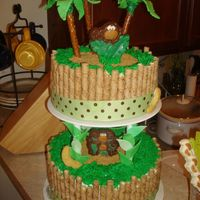 Monkey Theme Baby Shower buttercream icing with fondant and chocolate accents. Monkeys are chocolate, palm trees are pretzel rods and fondant leaves. I stole some...