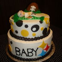 Steelers Baby Shower A new twist to a co-ed baby shower. Buttercream icing with fondant accents. Thanks for everyone on this site for inspiration!