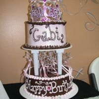 Pink And Brown Princess Cake BC with pearl accents. The crown and wands are not edible.