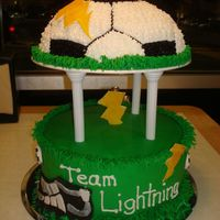 Lightning Soccer Team Buttercream and fondant accents. Soccer ball pan for top. For children's soccer banquet