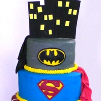 Super Hero Cake - Batman, Superman, & Spiderman This cake was created by special request for a little boy turning 5. His favorite characters are Batman, Superman, & Spiderman. Topper...