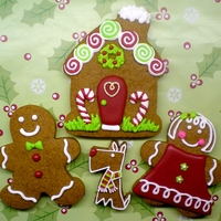 Home Sweet Gingerbread Gingerbread Family! All cookies were cut with a cookie cutter, except for the dog, which was hand cut. The dog was inspired by all of the...