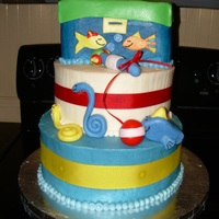 Diaper Cake Replica The client wanted me to replicate a fishing themed diaper cake, it was not easy, but so much fun! Top tier was a loaf pan then used fondant...