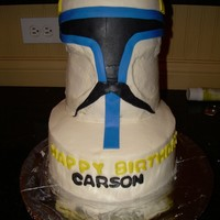 "Clone Wars Mask Hardest cake ever. Stacked 8"" rounds with a dome cake on top. Horrible to transport!"