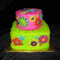 Fun Cake! Designed to match some party gift bags, I had a blast with this one.