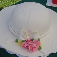 Ladies Hat White cake with buttercream and fondant made to celebrate Steeplechase in Franklin, TN. Roses are gumpaste.