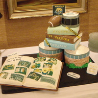 20Th Year High School Reunion Although I hate to admit it's my 20 yr. reunion, it was fun to make the cake. The buildings look like the school, books, drum for the...