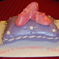 Ballet Shoes This was my first pillow and ballet shoes cake. Pillow corners are a bit rough, but the ballerina was happy!
