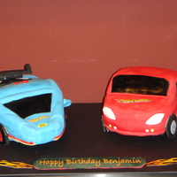 Hot Wheels One chocolate, one vanilla cake with buttercream and MMF decorations. All decals are edible images.