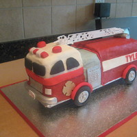 "Fire Truck Birthday Cake for a 4-year-old's birthday... his only requests were that the truck have ""a ladder with a bucket"". too bad mother nature..."