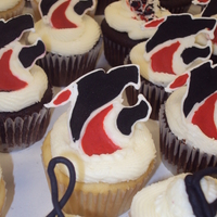 Band Mascot Cupcakes x 100 with color flow mascots and music symbols