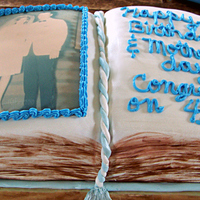 Book Cake-Happy Birthday,happy Mothers & Happy 41St Anniversary! My first book cake.Not to bad could be better.Made for a couple's 41st wedding anniversary,Her birthday!Mothers day & her birthday...
