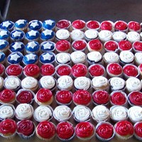 Flag Cupcakes Cupcakes in the shape of the American Flag.Made for a military man's retirement BBQ.Chocolate & vanilla cupcakes with vanilla...