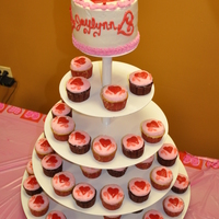 Valentine Cupcake Tower Child' birthday cake with valentine theme