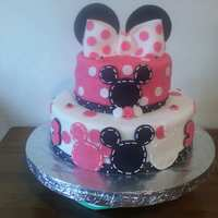 Minnie Mouse Birthday Cake  Inspiration from a similar cake here on CC, Strawberry and Chocolate layers alternating, Frosted in *Crusting Buttercream* and covered in...