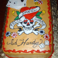 Ed Hardy/las Vegas  vanilla WASC cake, with pina colada filling and bc dream, the cards,money chips and dices are fondant, TFL, all comments are always welcome...