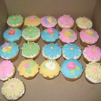 Cupcakes Galore I decided to make cupcakes on a free afternoon. Vanilla flavored with buttercream and most tops are fondant and some of the flowers are...