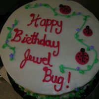 Lady Bug Birthday Cake Carrot cake with cream cheese frosting. Lady bugs made out of fondant