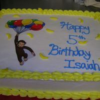 Cuirous George Cake A very last minute curious george cake. Edible image and runts used for bananas