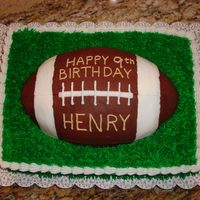 "Football Cake Cakes made with 11""X15"" sheet cake pan with Football pan on top. All BC with chocolate BC football. Grass tip on sheet cake."