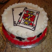 "Poker Cake My first FBCT. I'm amazed how detailed you can get with this technique. 8"" round cake. Partial Wilton pattern (2 cards instead of..."