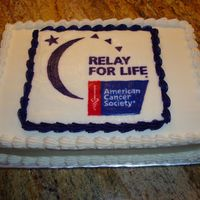 Volunteer Cake I made (2) 9x13 cakes like this for the volunteers for Relay for Life. All BC with FBCT on top.