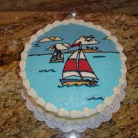 "Sailboats 8"" round layer cake with FBCT top. I think the pattern was from a coloring book page. Birthday cake for my brother-in-law."