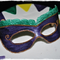 Mardi Gras Mask Made for my Sister-in-law's birthday. She had dinner at a New Orleans style restaurant and my brother wanted a Mardi Gras style cake....