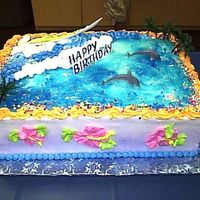 Surf Birthday All buttercream, with a fondant surfboard!