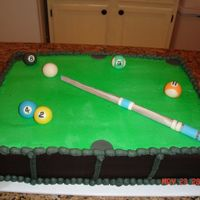 Pool Table Cake   Table made of buttercream and fondant. Billiard balls and cue stick made of fondant. For a man's 42nd birthday.