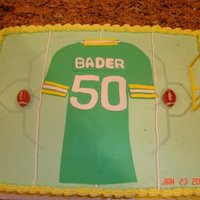 Football Birthday This cake was made for my uncle's 50th birthday. Jersey made from fondant.