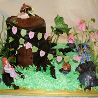 Woodland Fairies Tree stump is banana chocolate chip cake covered with chocolate fondant. Roots and rocks are made from rice crispies treats. Flowers,...