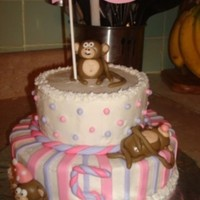Pink And Purple Monkey Cake Here's another monkey cake. Thanks to all the other monkey cake creators for their inspiration! This was for my daughter's...