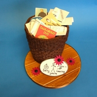 Wastepaper Basket Retirement Cake Chocolate mud cake covered in basket weave buttercream. Fondant board and edible images mounted on fondant to show what the recipient can...