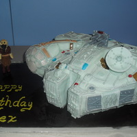 Millennium Falcon Cake I made this Millennium Falcon cake for my best friends son. I made it to look like his Millennium Falcon toy. The toy is a little different...