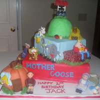 Mother Goose Cake This cake was so much fun to make, but took a really long time with all the figures. All of the birthday boys favorite nursery stories are...
