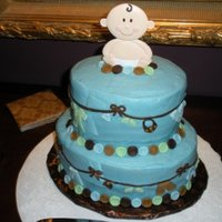 "Baby Shower Cake  This is my version of Wilton's ""layette on 'em"" cake. It was for a baby boy shower in which the color scheme was blue..."