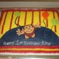 Curious George Birthday Cake Full sheet marble cake with strawberry filling. All BC. Curious George and 3 balloons are made of fondant. I was inspired by the cake...