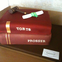 Law School Graduation Cake   stack of books topped by fondant gavel and diploma